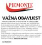 Piemonte: Radno vrijeme od 7,oo do 17,oo sati